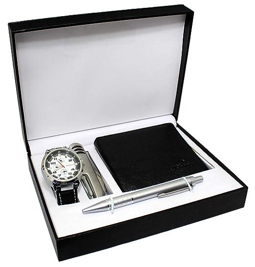 Regalo Reloj Hombre + Cartera + bolígrafo + Cuchillo multifunción: Amazon.es: Relojes