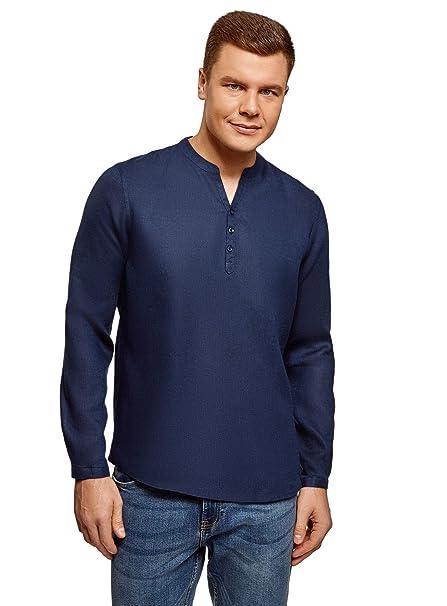 afba229e3bd97 oodji Ultra Hombre Camisa de Lino sin Cuello  Amazon.es  Ropa y accesorios
