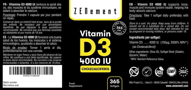 Vitamina D3 4000 UI, 365 Cápsulas, 1 Año de suministro | Sin ...