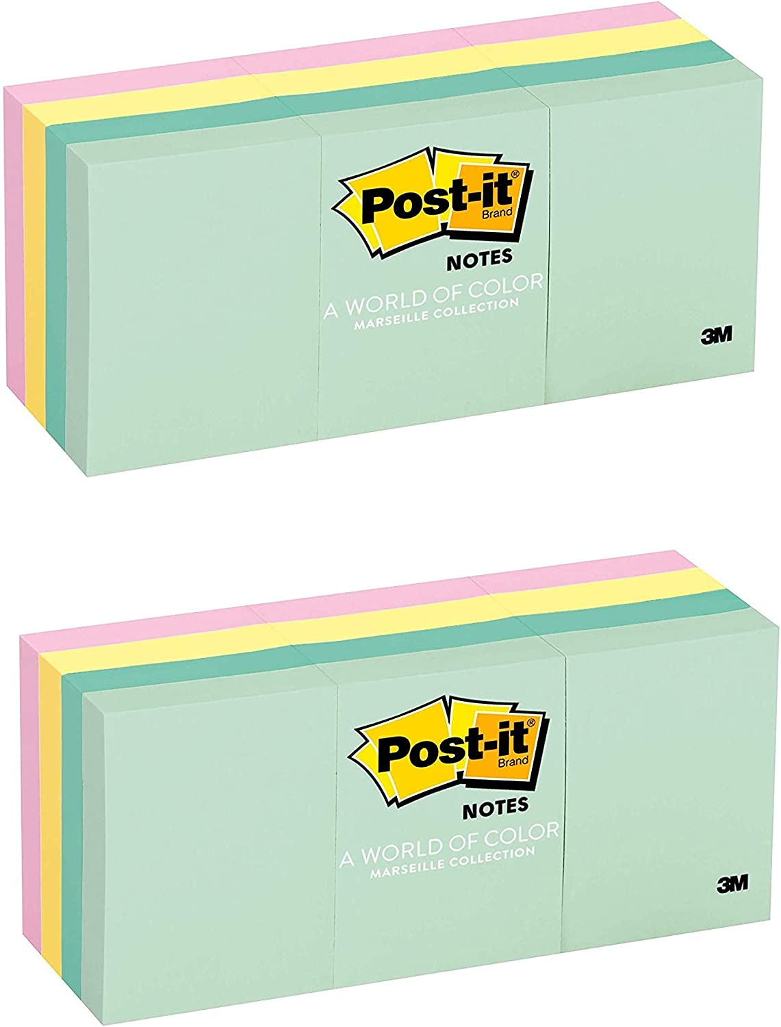 12 Pads//Pack 1 3//8 in x 1 7//8 in 2 PACK Marseille Collection Post-it Notes 653-AST