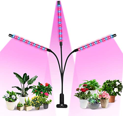 Plant Grow Light, 60W 60 Led Grow Light Bars for Indoor Plants Red Blue Spectrum 3 Heads Plant Grow Lamp with 10 Dimmable Brightness and Timer for Seeding, Flowering and Fruiting