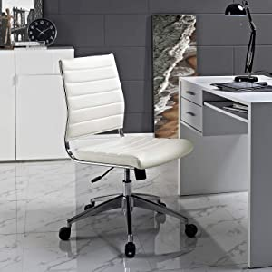Modway Jive Ribbed Armless Mid Back Swivel Conference Chair In White