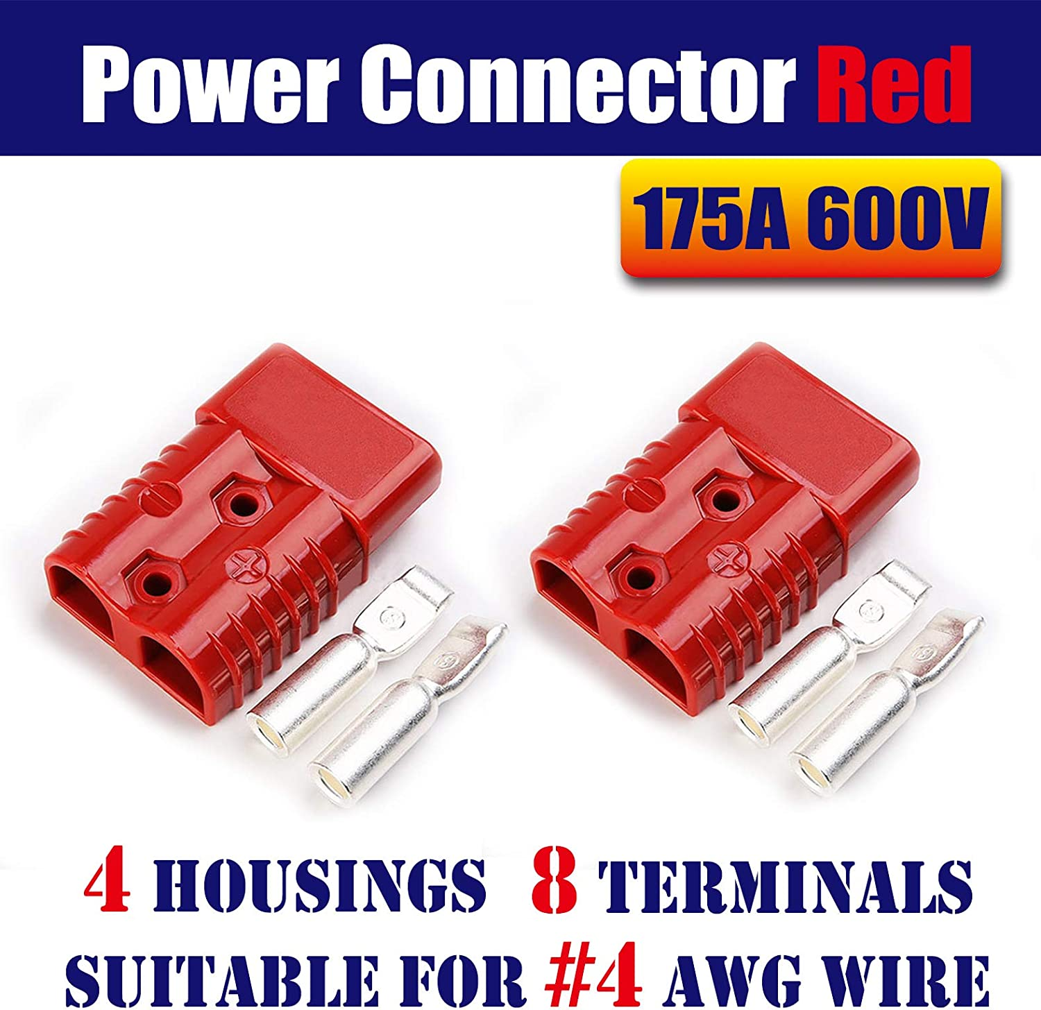 4 housing+8 Terminal pins Mr.Brighton LED 175Amp Anderson Compatible 2 Pole Power Connector Plug Grey w//Terminals for #2 AWG Wire