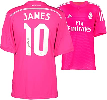 super popular 565ed 36a98 James Rodriguez Real Madrid Autographed Pink Jersey ...