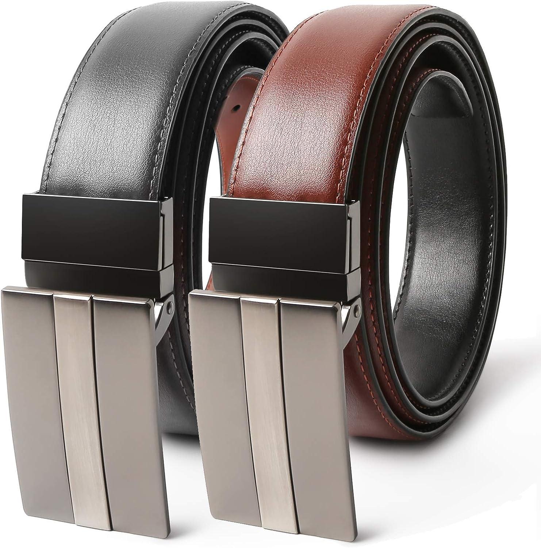 TERSE Cinturón de Hombre Cuero Genuino Marrón Negro con Hebilla Reversible 3.5 cm Ancho Largo 110 cm, 125 cm, 138 cm