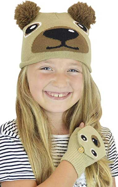 RJM Childrens Novelty Animal Character Hat /& Glove Set One Size