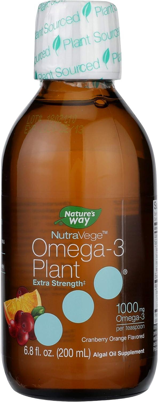 Nature's Way NutraVege Extra-Strength Omega-3 Plant Based Liquid Supplement- Vegeterian, Vegan- Cranberry Orange Flavor, 6.8 oz