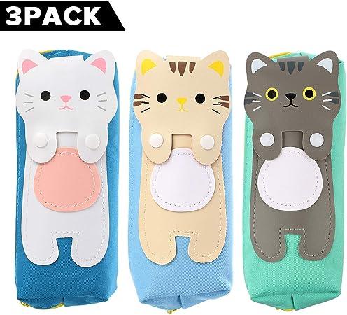 Pack de 3 estuches para niños y niñas, con diseño de gatos, bonitos estuches para material escolar Katze 3 Pack: Amazon.es: Hogar