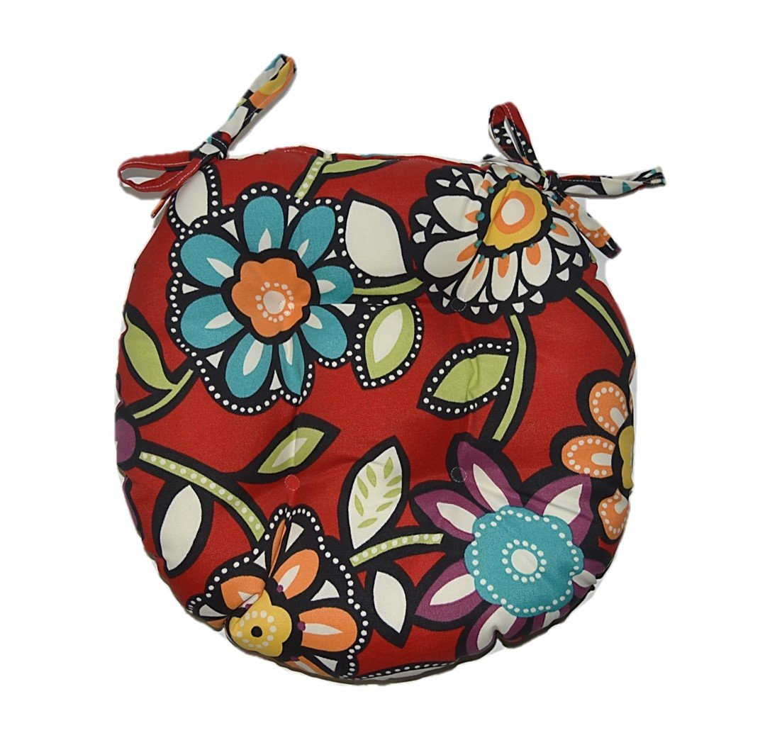 Indoor / Outdoor Round Tufted Bistro Cushion with Ties - Red Wilder Contemporary Floral - Red Blue Green Purple White Black - Choose Size (16'')