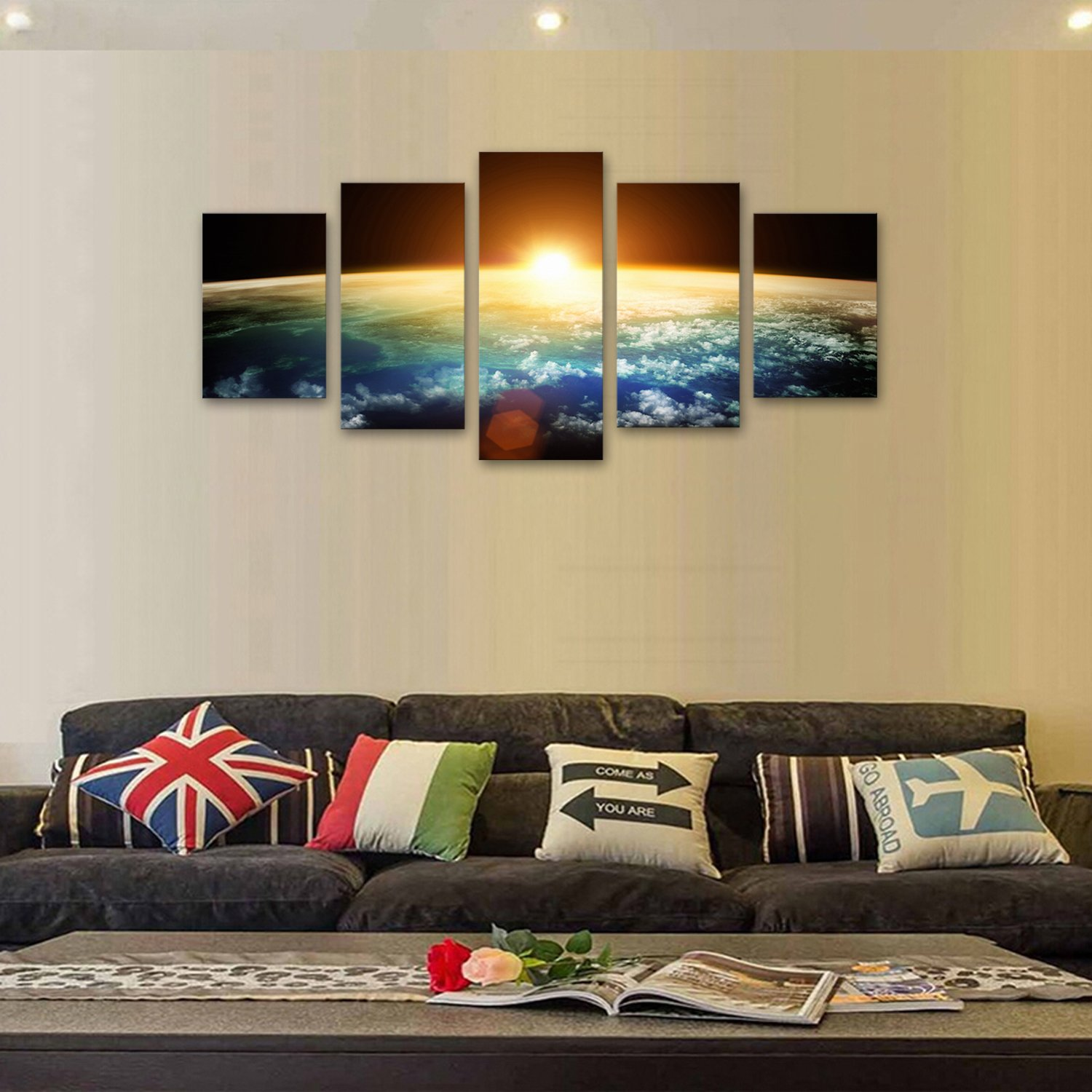 Amazon.com: Wall Art 5 Panel Beach Pictures Artwork for Living Room ...