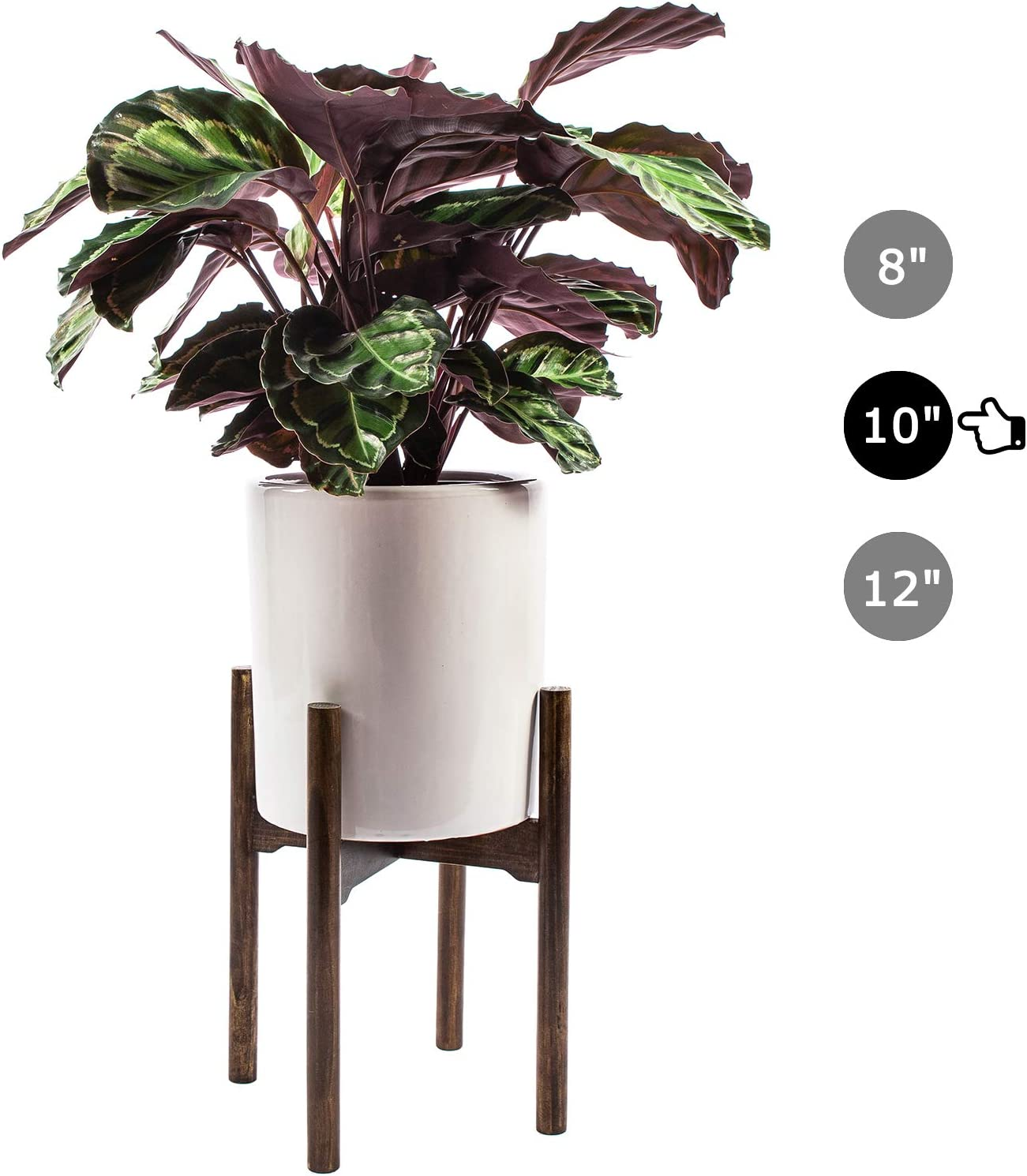 MoonFly Wood Plant Stand Indoor Flower Pot Holder House Pot Rack Mid Century Modern Home Decor Fits Planter Multipurpose Bracket 10 Inches,Retro Dark Brown(Planter & Pot Not Included)