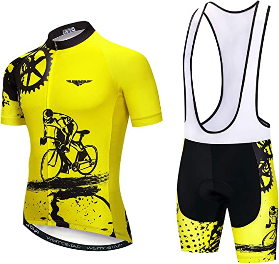 Men's Cycling Jersey Short Sleeve Biking Shirts Bike Clothing Bicycle Jacket with Pockets Breathable