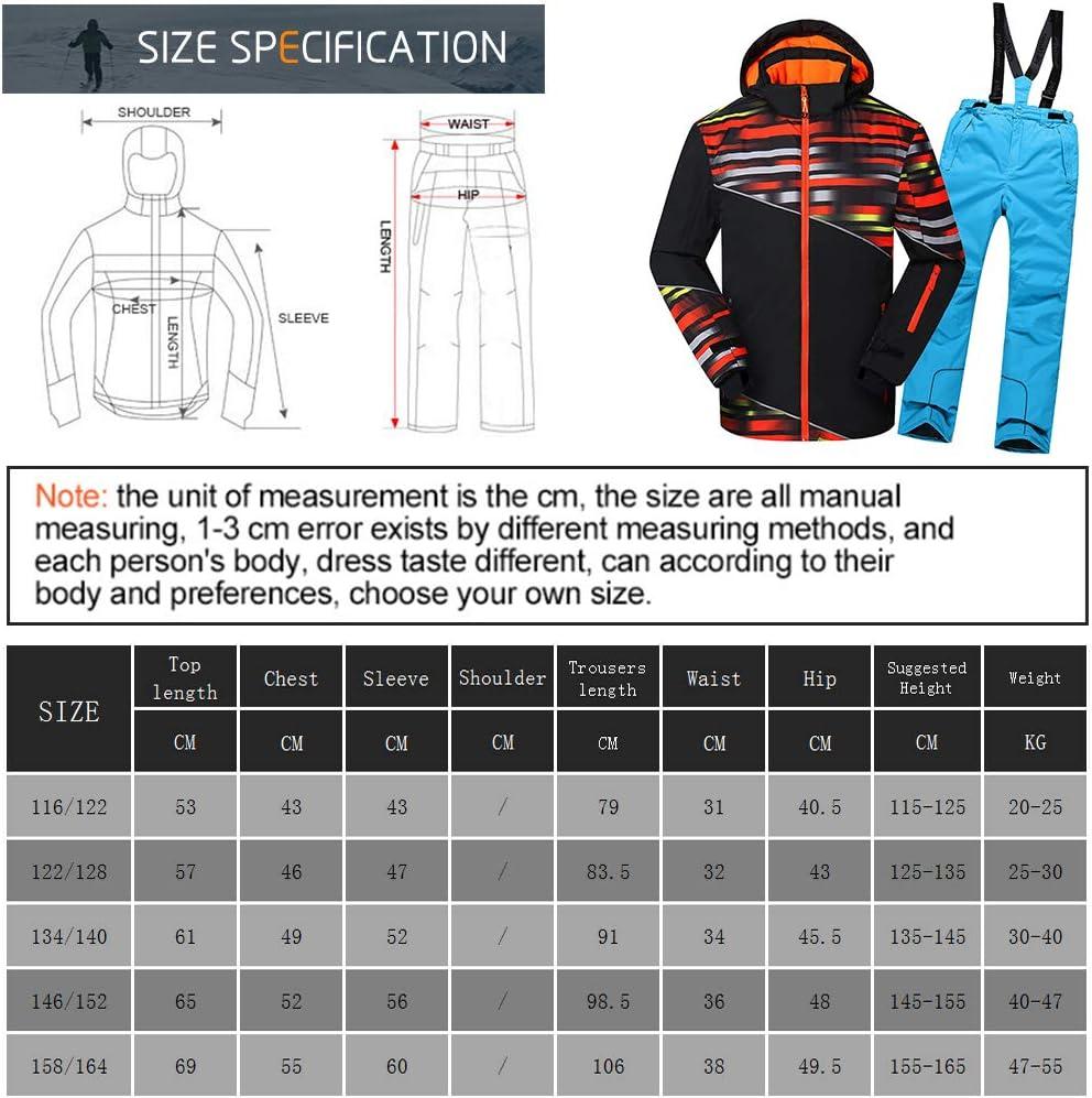 LPATTERN Enfant Fille Gar/çon Veste de Ski Pantalon de Ski V/êtement de Neige Epaisse Chaud Blouson dhiver 5-13ans