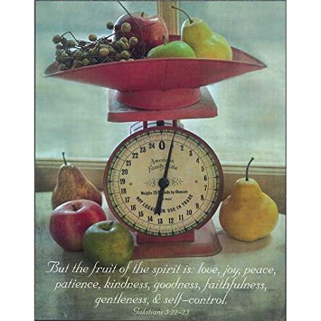 Dicksons Fruit Of The Spirit Weighted Scale Rustic Red 11 x 14 Wood Wall Sign Plaque