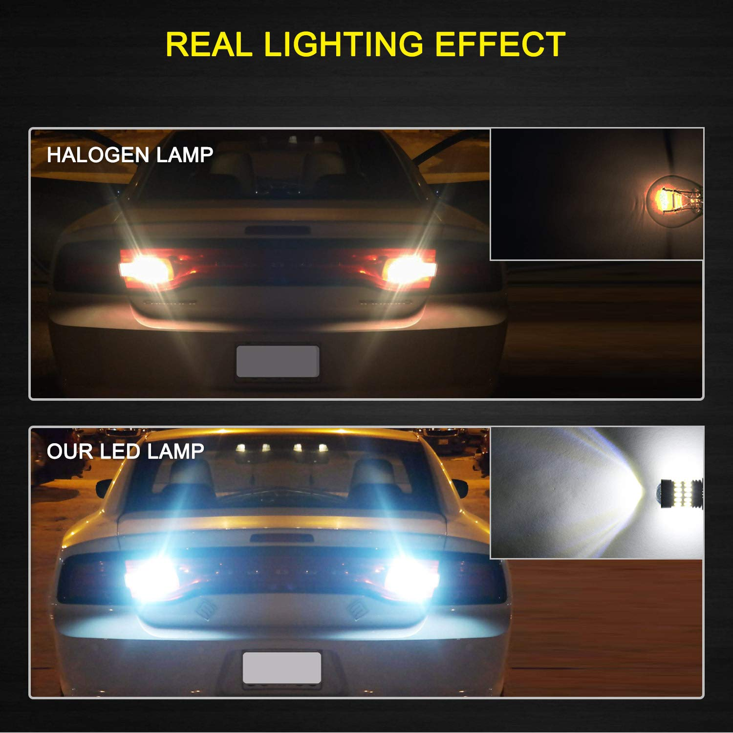 Pack of 2 AUXITO Amber Yellow 3157 LED Bulbs Extremely Bright 48-SMD 4014 LED Chipsets 3156 3057 4057 4157 LED Bulbs with Projector for Turn Signal Lights