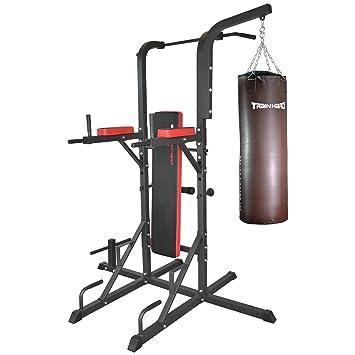 TrainHard Multi con pesas ejercicio estación de la inmersión con saco de boxeo soporte y soporte para pesas con saco de boxeo con 80 cm: Amazon.es: Deportes ...