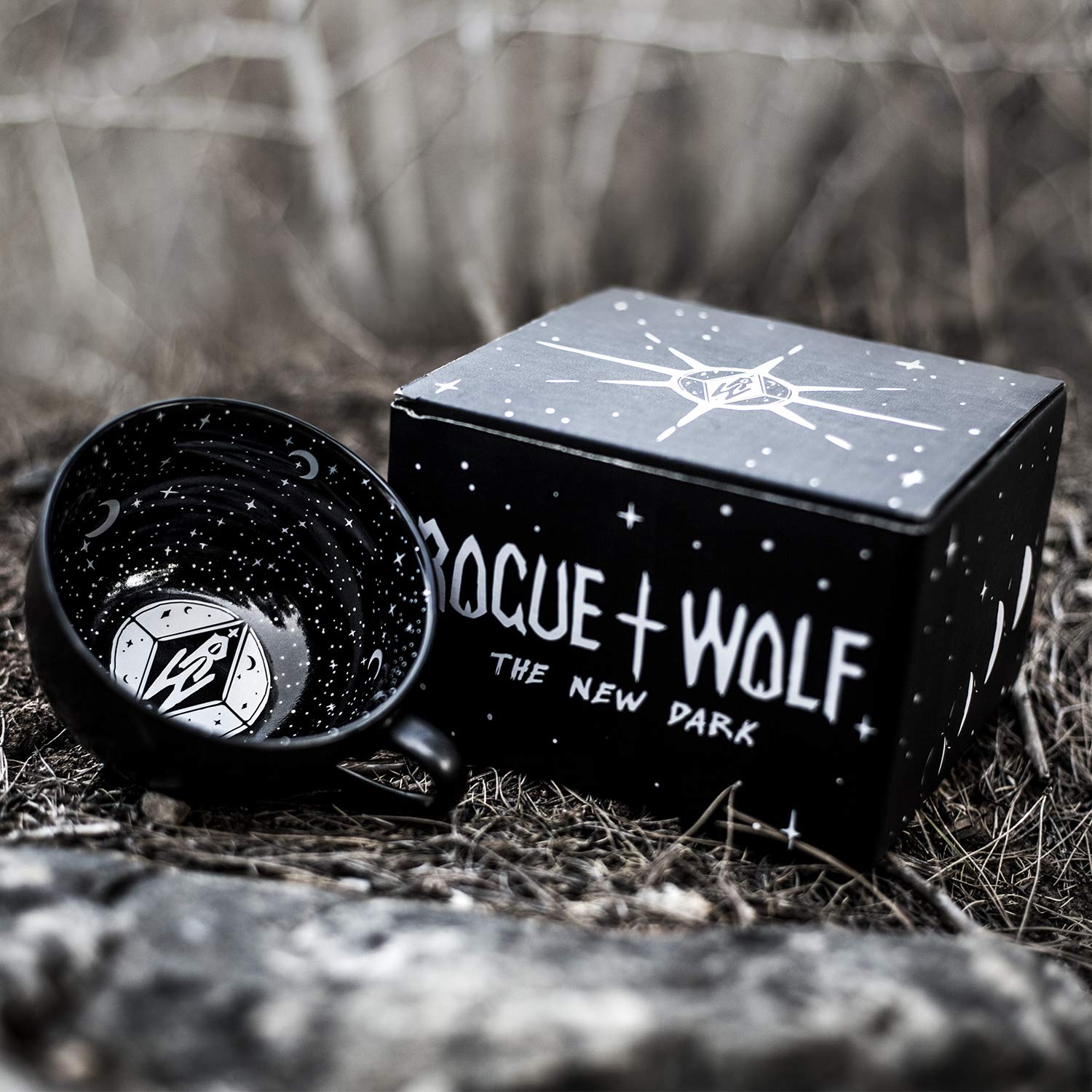 Midnight Coffee Large Mug in Gift Box By Rogue + Wolf Cute Mugs For Women Unique Witch Halloween Gifts Novelty Tea Cup Goth Decor - 17.6oz 500ml Porcelain by Rogue + Wolf (Image #4)