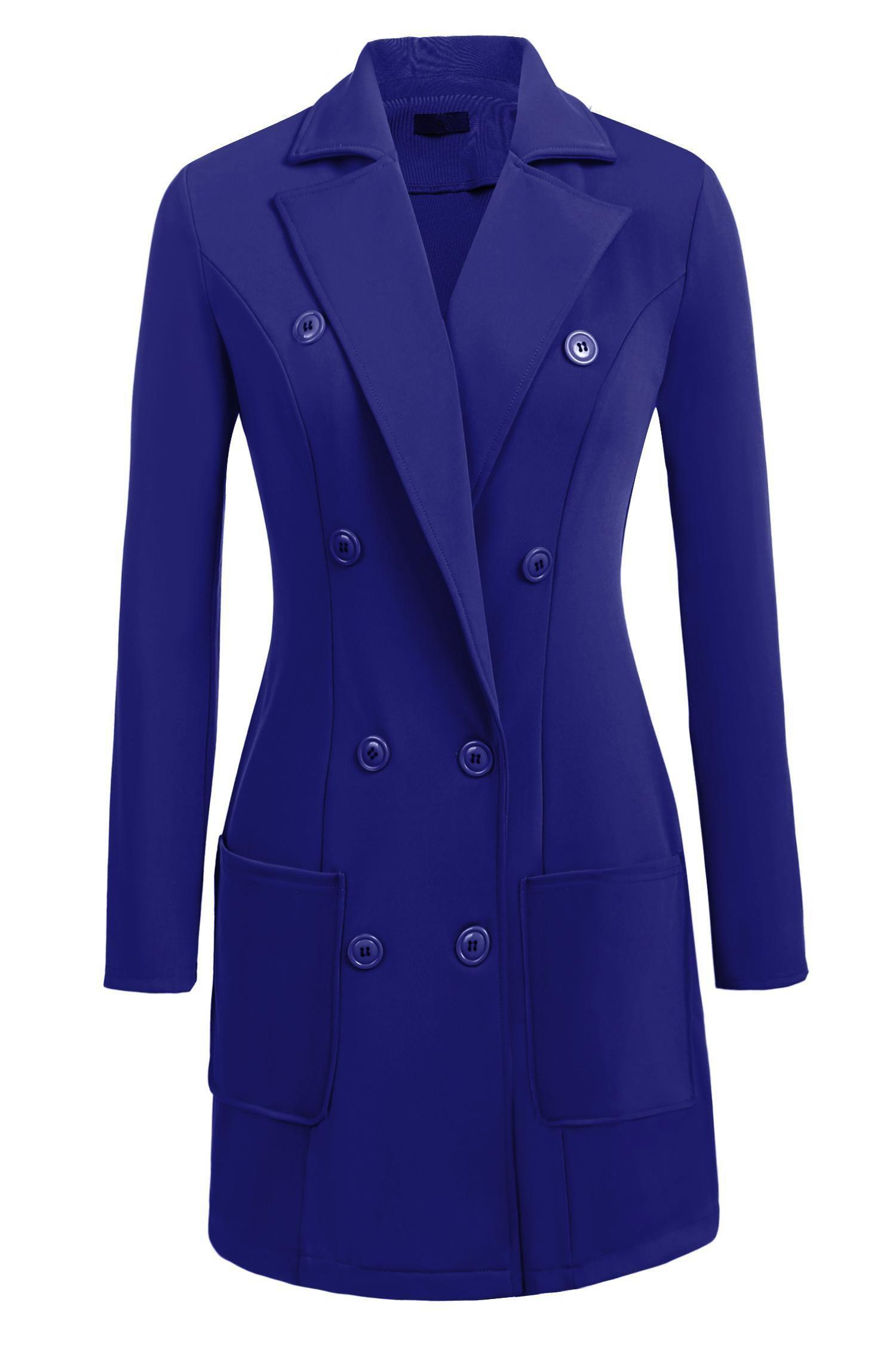 Zeagoo Women's Winter Fashion Outdoor Warm Classic Pea Coat Jacket Blue M