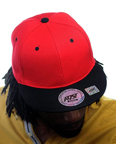 1d6ba67b NYFASHION101 Plain Blank Flat Bill Adjustable Snapback Cap Hat - Red/Black