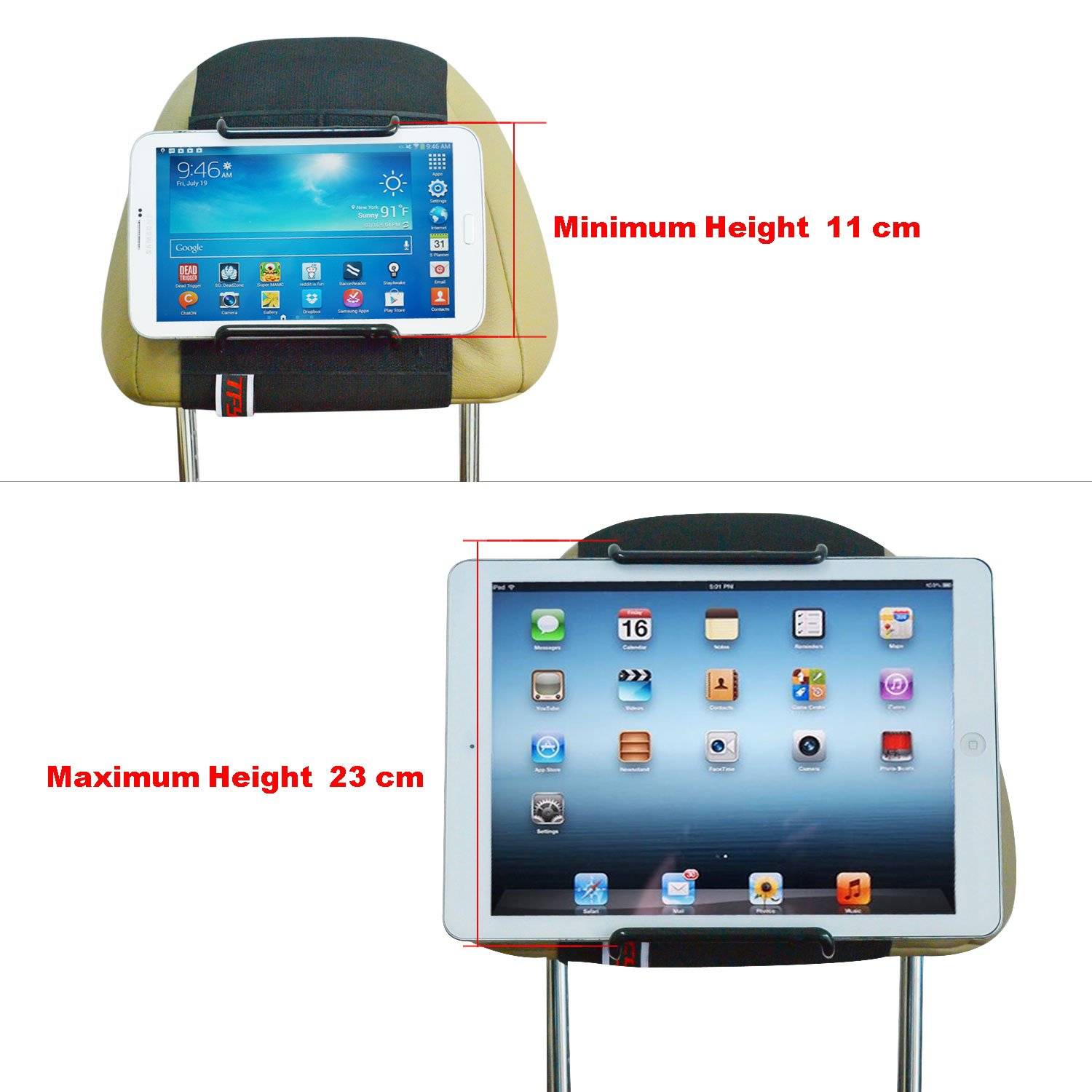 Tablet Car Mount WANPOOL Car Headrest Mount Holder Compatible with 7 10.5 Inch iPads and Tablets WP-5TABLET/_BLK