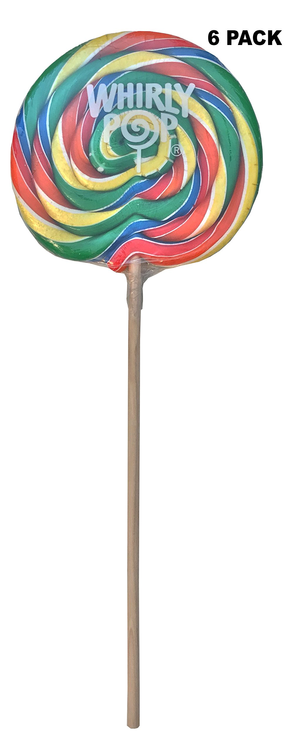 6 Pack Adams Brooks Whirly Pop Lollipop Rainbow Swirl Party Candy 10 Oz by Adams & Brooks
