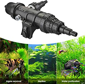 18W Fish Tank UV Sterilizer Light Non-Submersible 110V Ultraviolet Water Clarifier with Bulb Tube Clean Lamp Adapt to 5284 Gallon Koi Gold Fish Aquarium Ponds