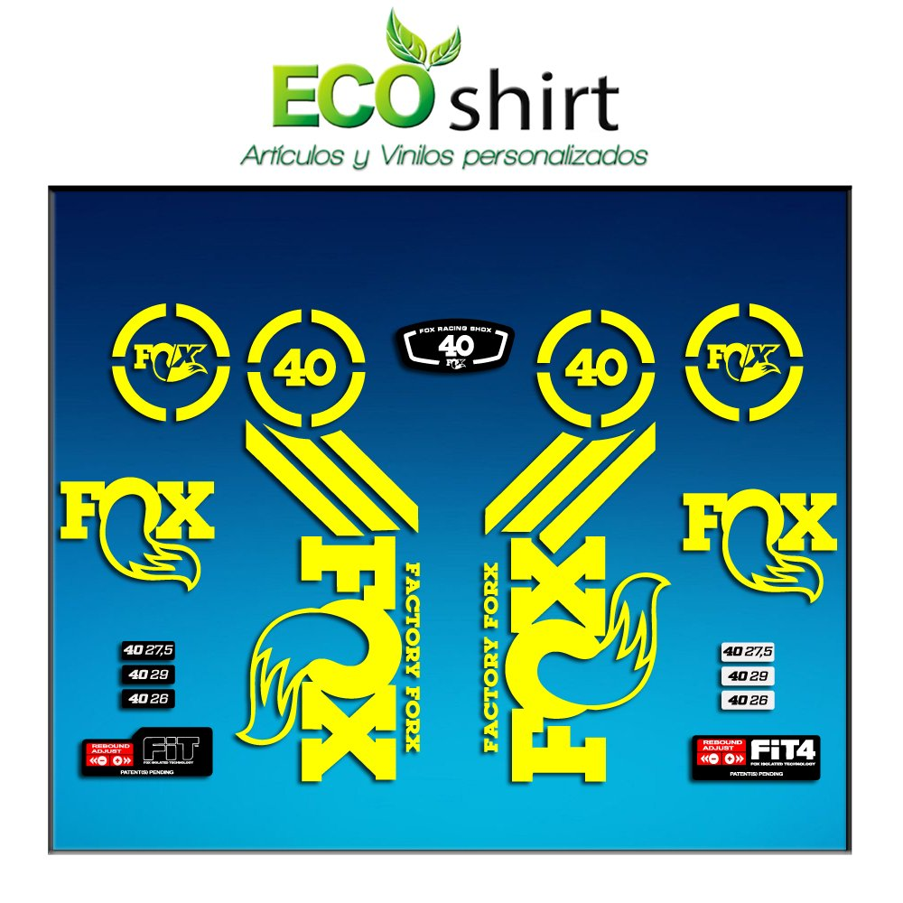 Ecoshirt XU-93A7-E0BL Autocollants Fork Fox 40 Am66 Autocollants Fourche Gabel Fourche Jaune