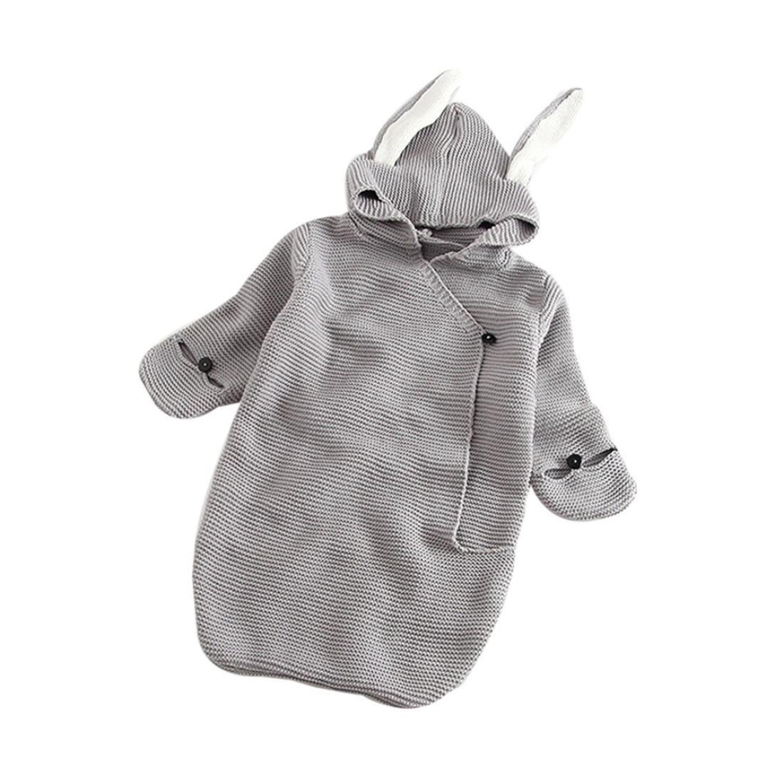 Gigoteuses,covermason Bébé Fille Garçon Mignon Nids d'ange Peluche Couverture Chaud Hiver Sac de Couchage Tricoter Swaddle Couverture Couchage Swaddle Wrap (Gris, 0-12mois)