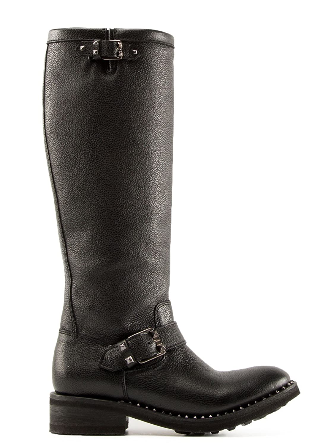 ASH WOMEN'S SUGAR004 BLACK LEATHER BOOTS