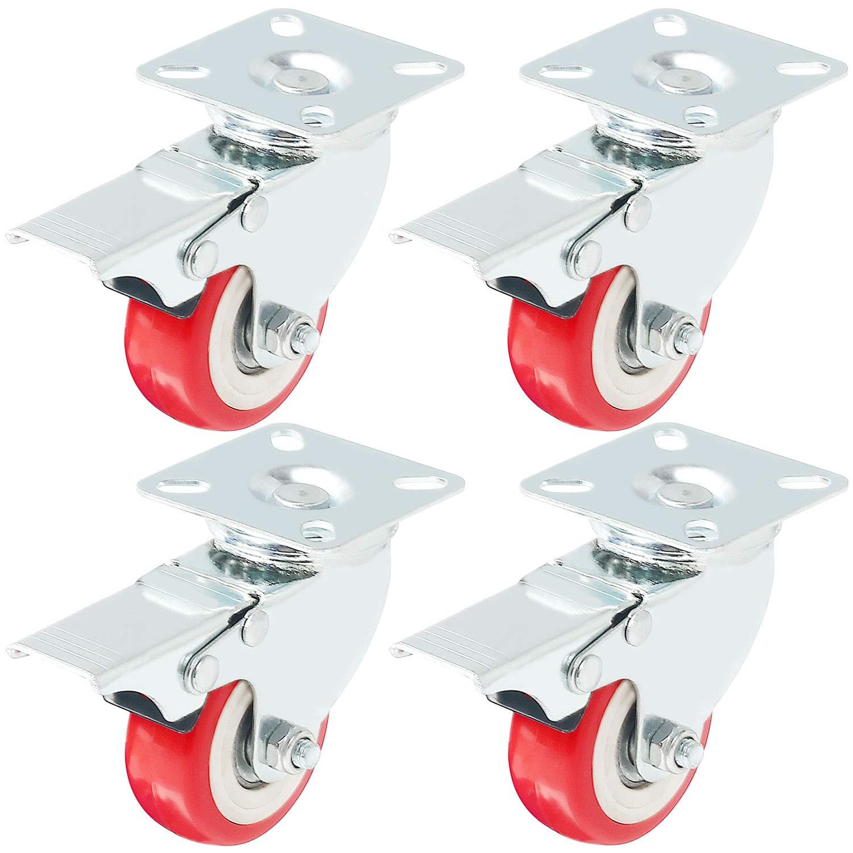 Online Best Service Caster Wheels Swivel Plate w/Brake On Red Polyurethane Wheels, 4 Pack, (2 inch with Brake)