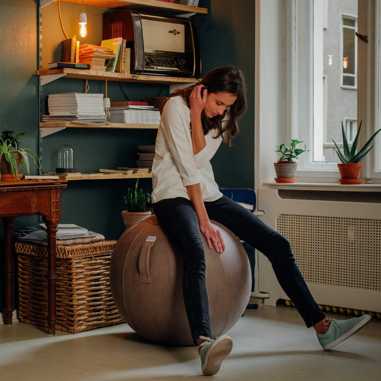 VLUV Palla da Seduta VEEL /Ø 60cm con Maniglia Robusta e indeformabile Grigio Scuro Antico Sedile ergonomico per casa e Ufficio 65cm Colore: Elefante Rivestimento in Similpelle in Microfibra