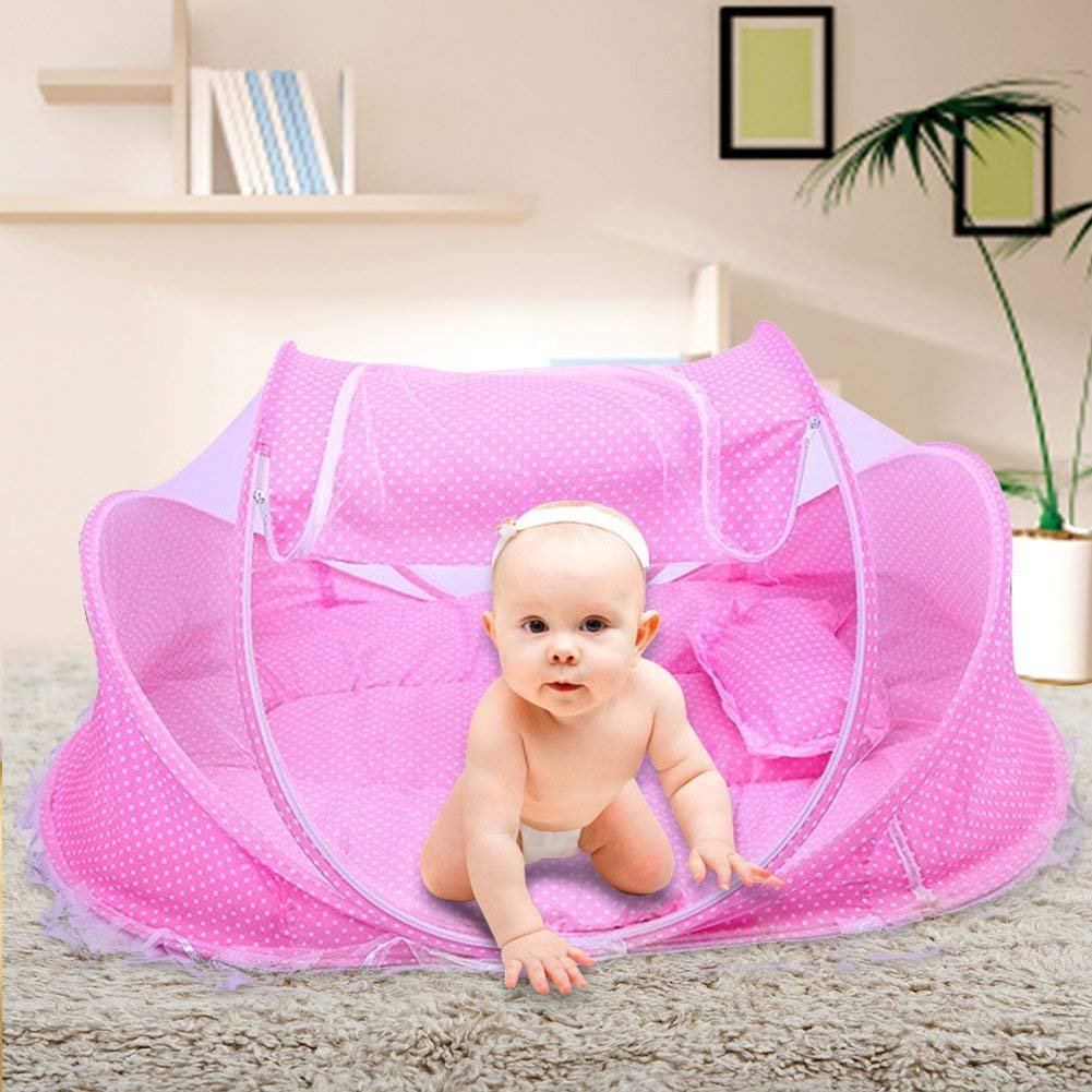 TMSL Baby Travel Crib Mosquito Net Bed Portable Folding Bed for Baby under 18 Month Blue with Mattress