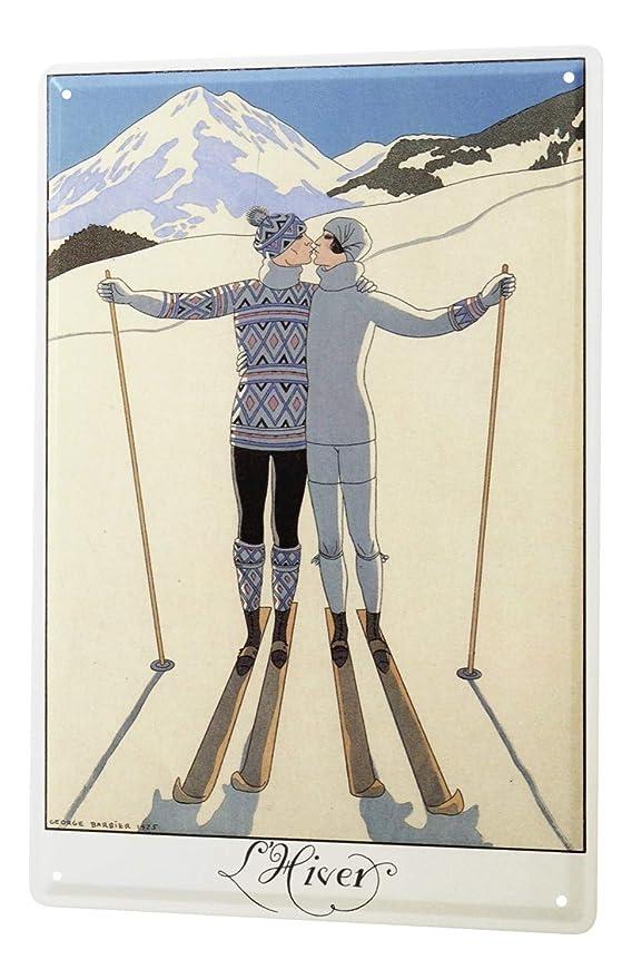 LEotiE SINCE 2004 Cartel Letrero de Chapa Retro Deco Pareja esquí