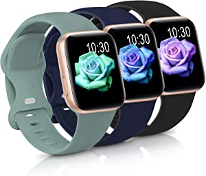 Sport Band Compatible with Apple Watch iWatch Bands 38mm 40mm 42mm 44mm,Soft Silicone Strap Wristbands for Apple Watch Series 3 6 5 4 2 1 SE Women Men Pack 3,Black/MidnightBlue/Cuctas,38/40mm,M/L