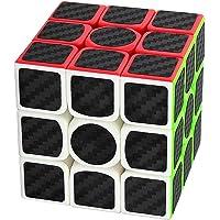 Coolzon® 3x3x3 Magic Puzzle Speed Cube Brain Teaser Twist Toy Carbon Fiber Sticker for Speedcubing, Black