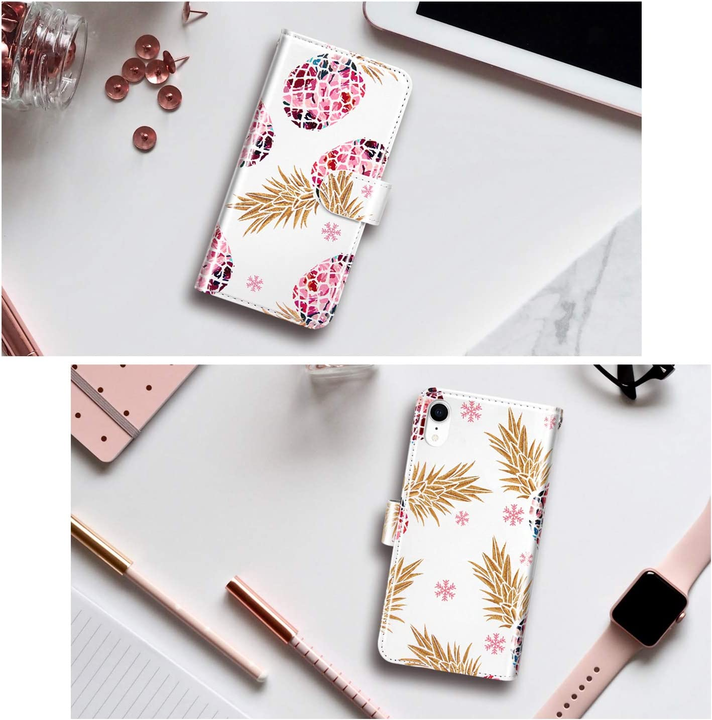 Dailylux iPhone XR Case,iPhone XR Wallet Case Sparkly Bling Shiny Faux Leather Magnetic Closure Card Slot Cash Holder Flip Cover Protective Phone Case for iPhone XR 2018 6.1,Glitter Rose Gold