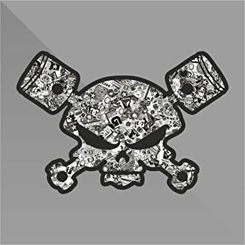 Sticker Teschio Skull Cr/âne Cr/áneo Sch/ädel Pistoni Pistons Punisher Decal Auto Moto Casco Wall Camper Bike Adesivo Adhesive Autocollant Pegatina Aufkleber cm 10