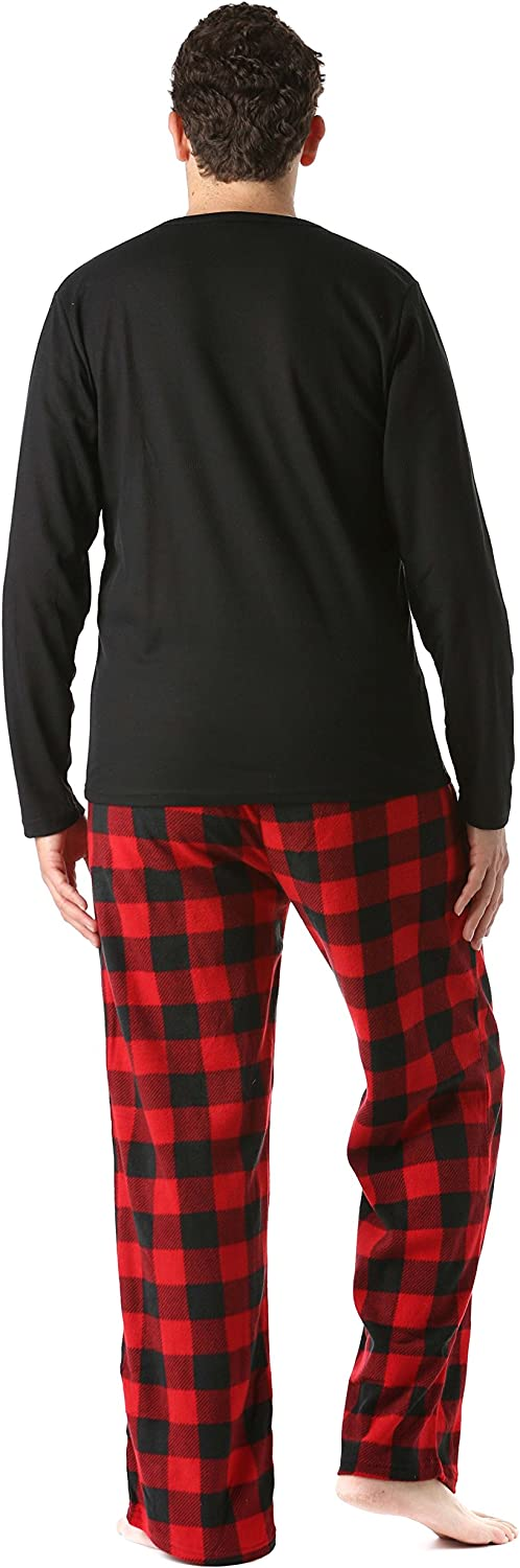 Pajama Set for Men with Black With Red Black Buffalo Plaid Pant 3X-Large