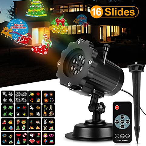 christmas light projector with wall through rf controller 16 slides woodeey halloween christmas led landscape