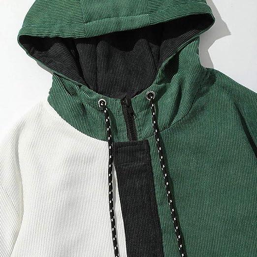 Yvelands Liquidación de Camisas para Hombres, Sudaderas con Capucha Activa para Hombres Bloque de Manga Larga Abrigo de Pana de Patchwork Top de Chaqueta: ...