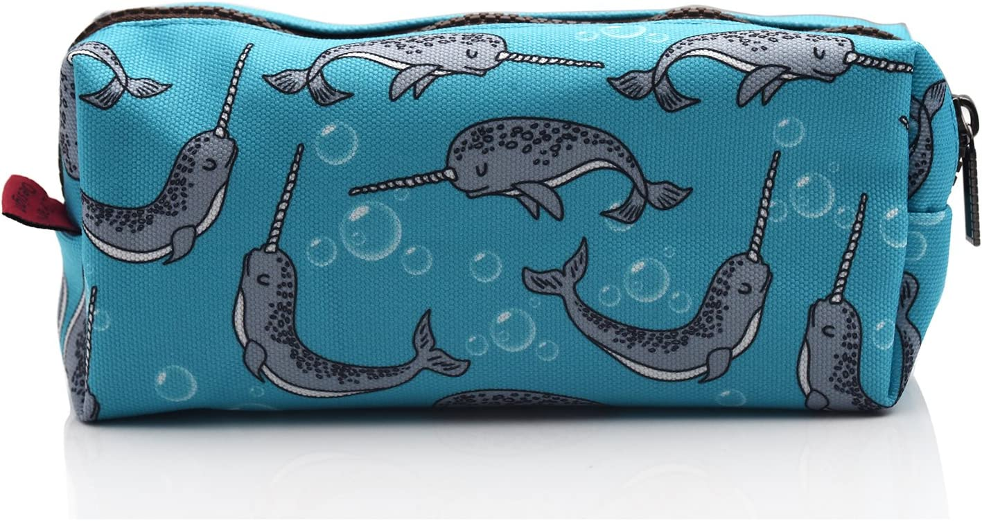LParkin Narwhal Canvas Pencil Case Pen Bag Pouch Stationary Case Makeup Cosmetic Bag Blue