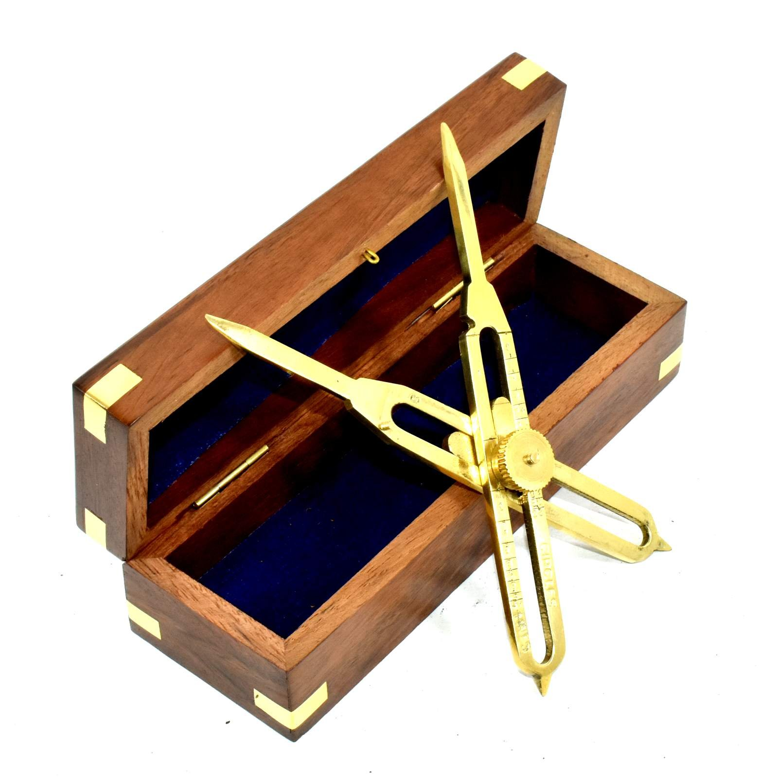 Solid-Brass-Proportional-Divider-6-inch-with-Anchor-Inlaid-Box by Eve.Store