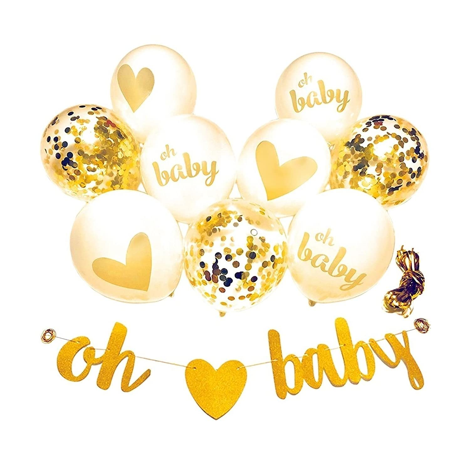 Amazon.com: Baby Shower Decorations Gold Banner [Oh Baby] Confetti ...