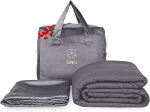 GnO Weighted Blanket & Bonus Removable Bamboo Duvet Cover - 100% Organic Cooling Cotton & Glass Beads - Premium Heavy Blanket for Adult - Designed in USA - Dark Grey - (15 Lbs - 60''x80'' Queen Size)
