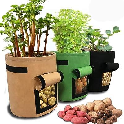 Grow Bags - Potato Grow Bag 3 Pack Planter Plant Pots 7 Gallon Window Vegetable Planting Double Layer Premium - Smart Breatha Square Seedlings Strawberries Premium Trees Raise Vertical Hug: Home Improvement