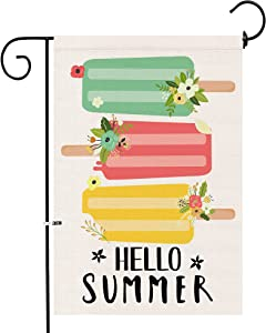 KamaLove Hello Summer Popsicles Garden Flag Vertical Double Sided, Premium Burlap Seasonal for Farmhouse Yard Outdoor,Decoration Small Summer Flag 12 x 18 Inch.