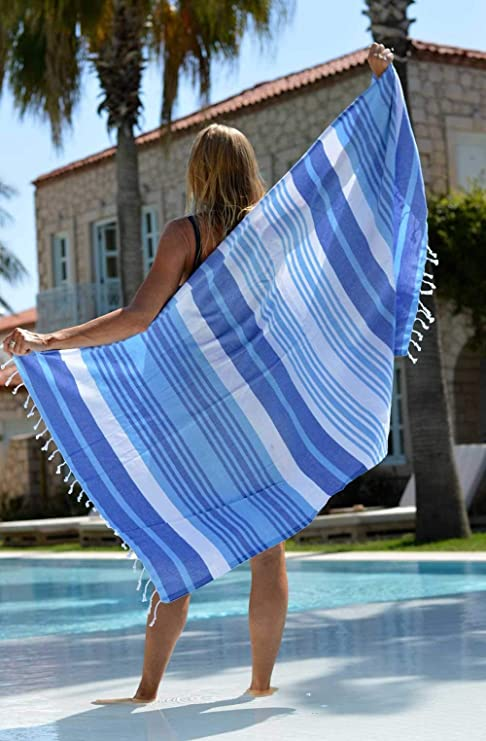 Amazon.com: ZusenZomer Fouta Hammam Towel XL & XXL Melodi | Turkish Beach Towel with Beautiful Stripes | Blue and Green | 100% Cotton (Blue, ...