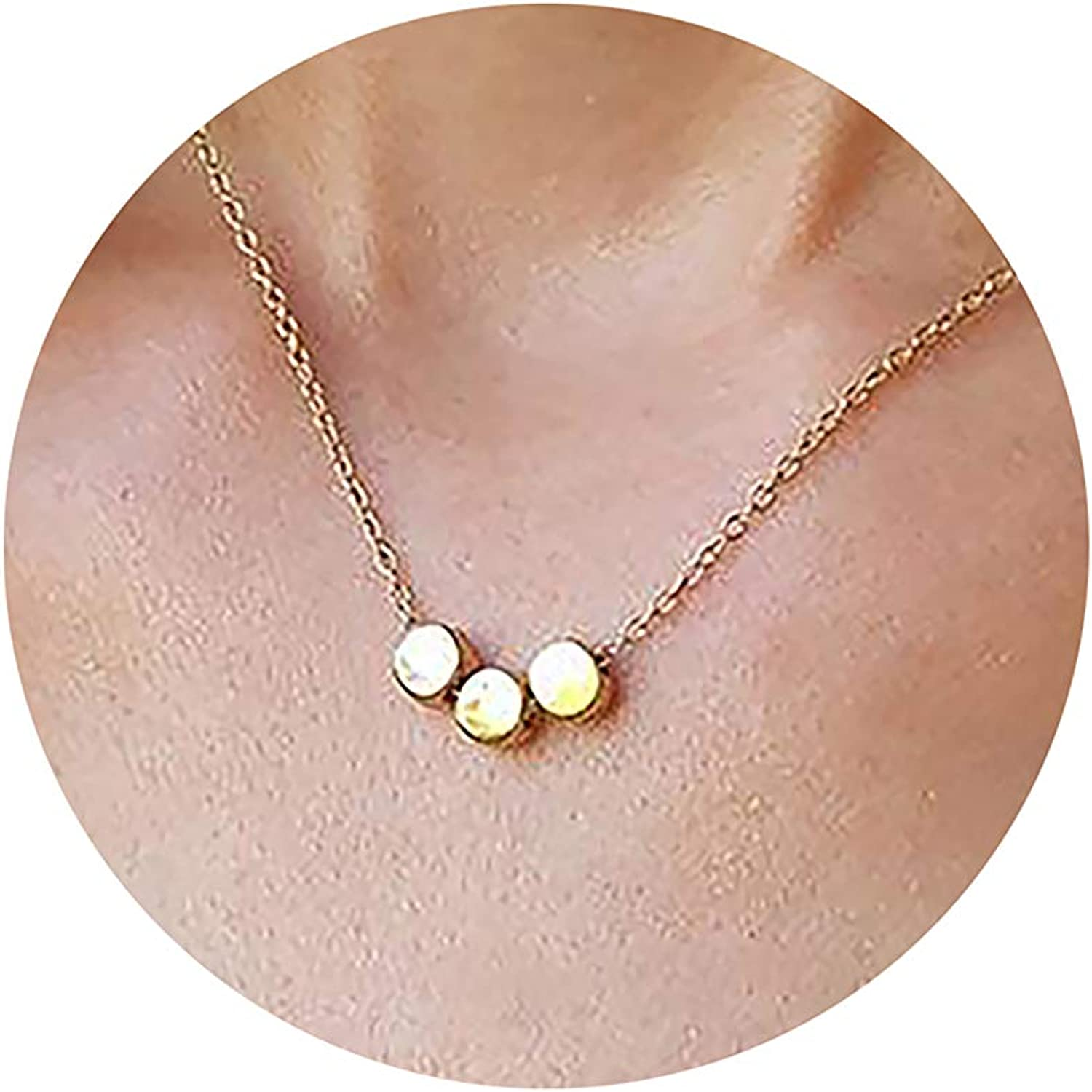 Minimal Dainty and Cute Beaded Necklace with Moon and Stars