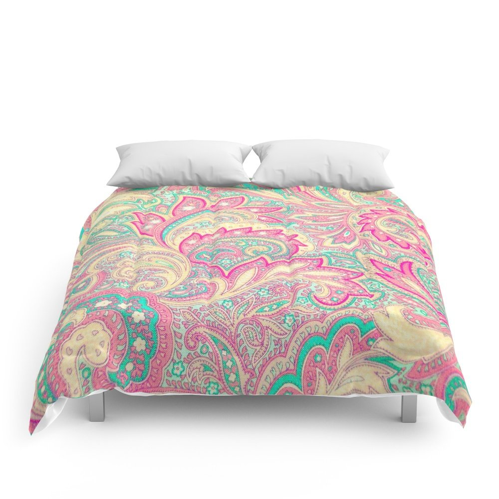 Society6 Pink Turquoise Girly Chic Floral Paisley Pattern Comforters Queen: 88'' x 88''
