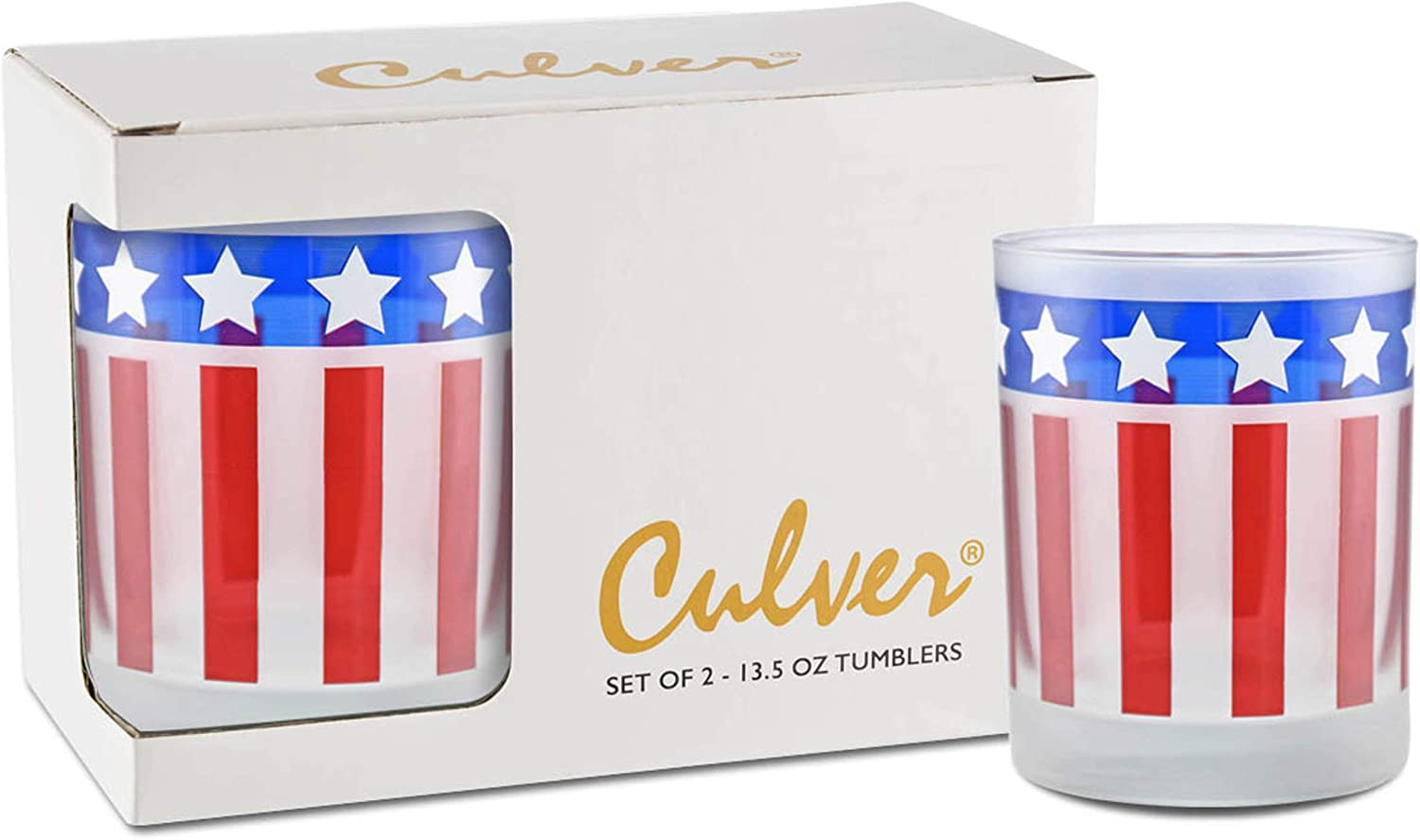 Culver Americana Decorated Frosted Double Old Fashioned Holiday Tumbler Glasses, 13.5-Ounce, Gift Boxed Set of 2 (Stars And Stripes)